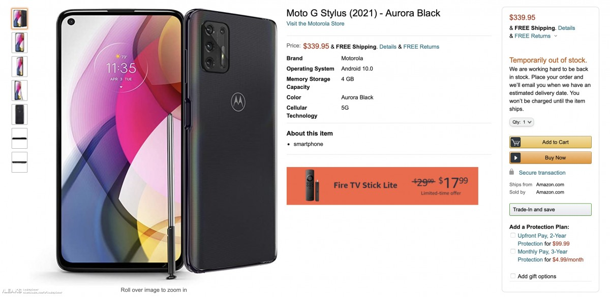 Motorola Moto G Stylus (2021) leaked by Amazon