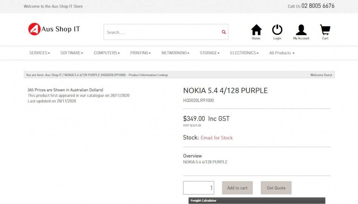 Nokia 5.4 on Aus Shop IT's website