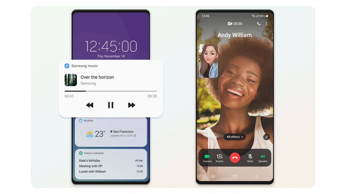 Widgets on the lockscreen and Edge-to-edge full screen video call layout