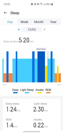 Sample Sleep Tracking session