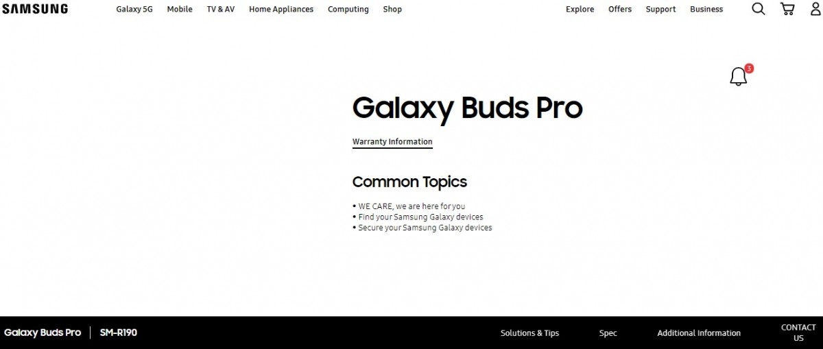 Samsung Galaxy Buds Pro moniker confirmed as support page goes live on official website