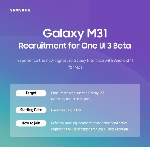 Samsung announces One UI 3.0 beta for Galaxy M31