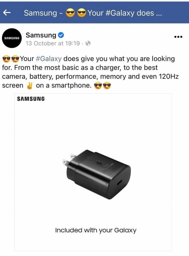 Removed Samsung Facebook post