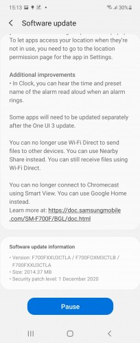 Galaxy Z Flip One UI 3 update changelog