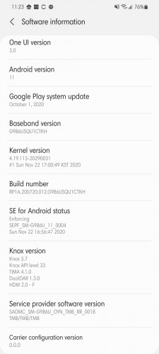 Galaxy S20 series Android 11 update for T-Mobile