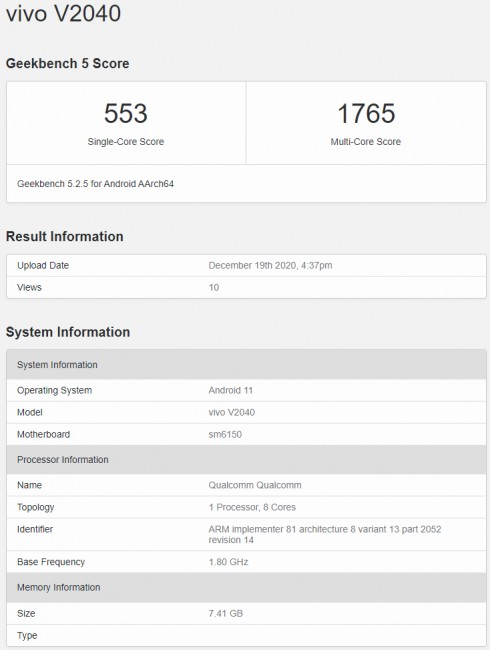 vivo V20 (2021) key specs revealed by Geekbench