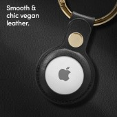 Cyill keyring for AirTag, in black and beige vegan leather