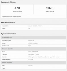 Honor V40: Geekbench 5.1 scorecard