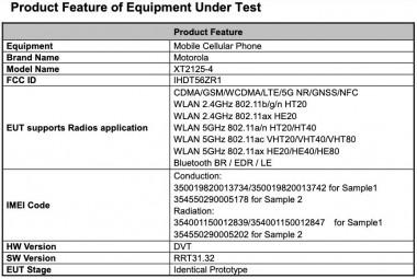 Lista FCC da Motorola XT2125-4