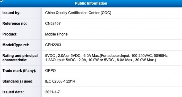 Oppo A94 certified by China's CQC