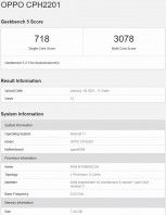 Reno5 Pro 5G CPH2201 GeekBench and certitifactions
