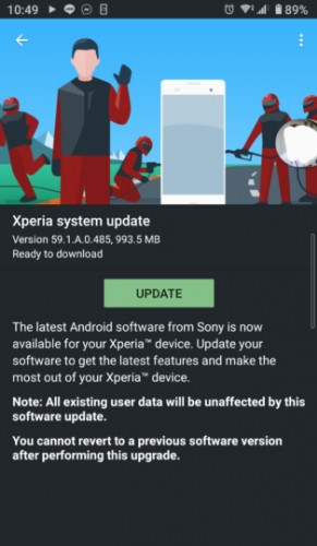 Xperia 10 II Android 11 update screen