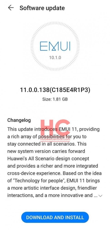 Huawei P30 update changelog