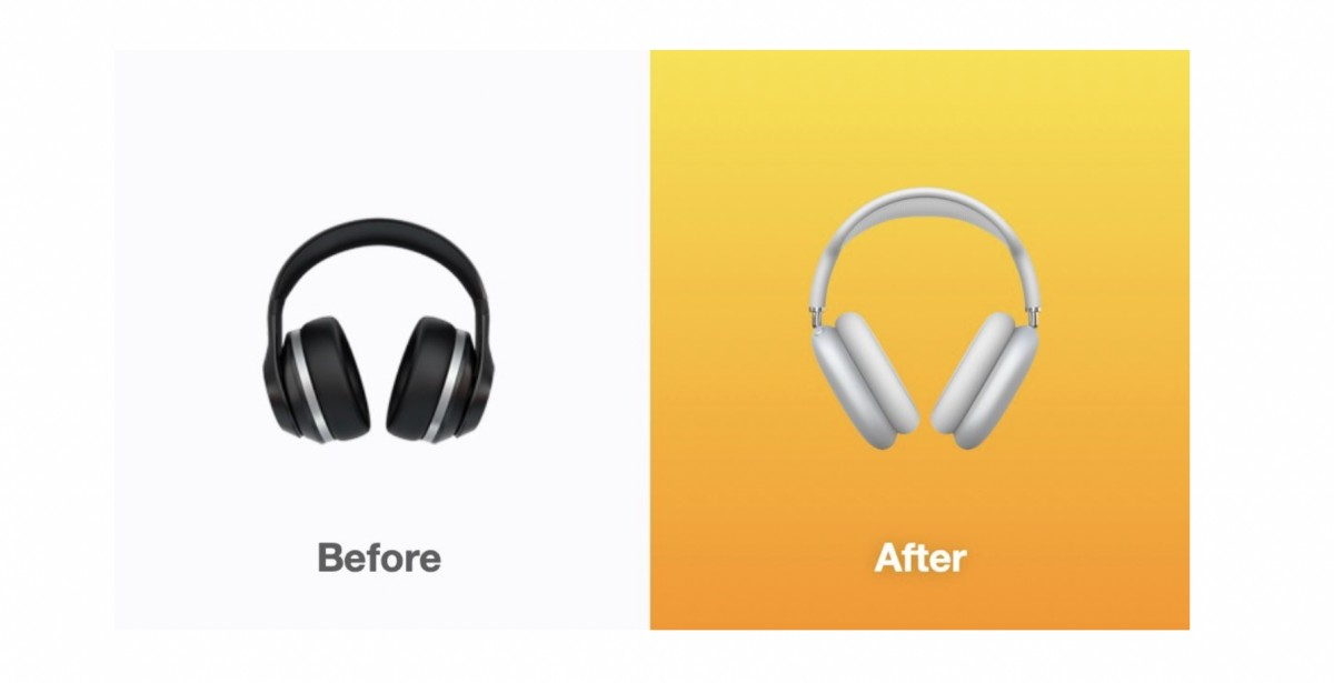 The headphones emoji was changed to look like the Apple AirPods Max