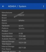 OnePlus 9 specs shown in  AIDA64 screenshots