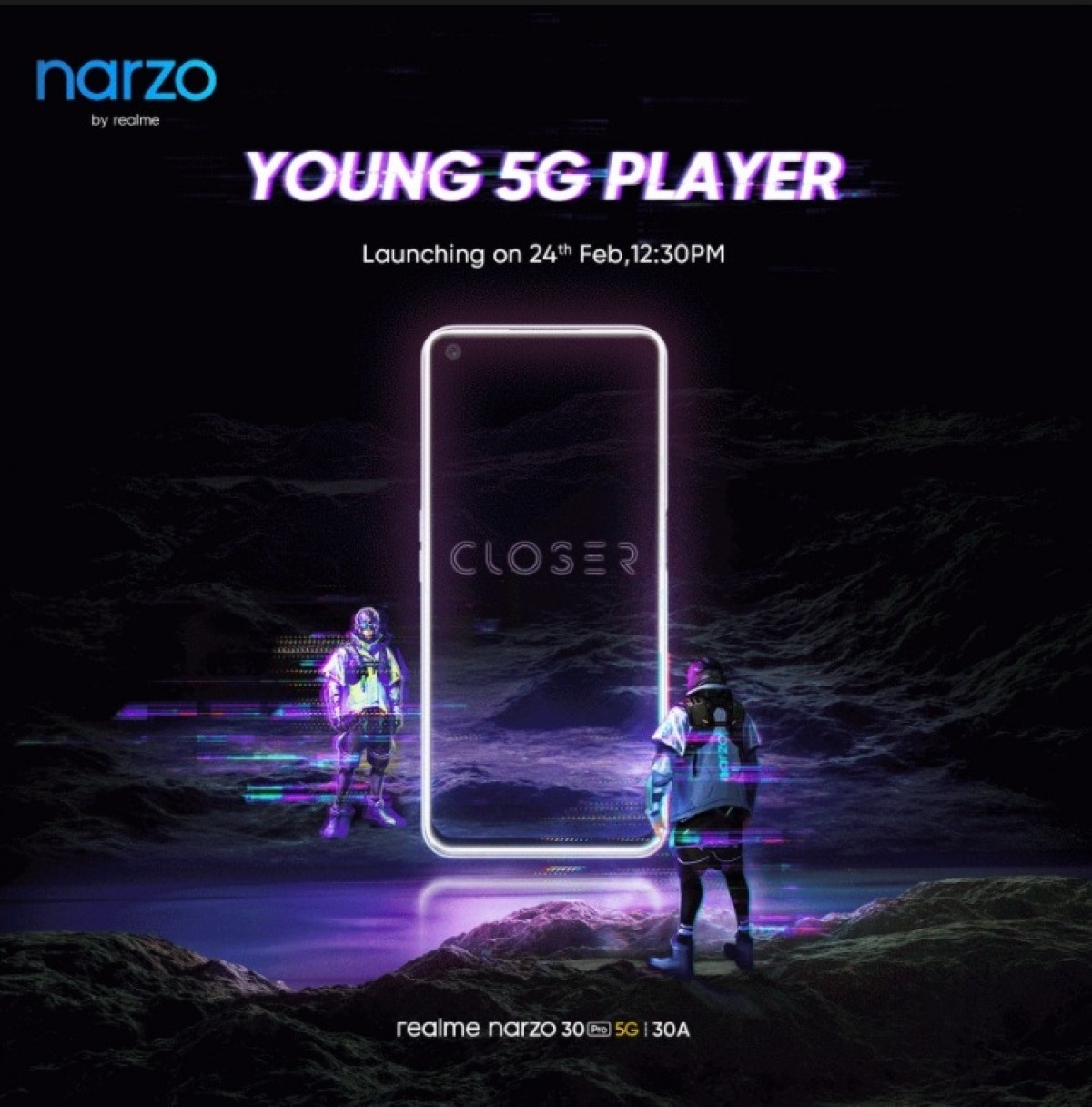 Realme Narzo 30A, Narzo 30 Pro 5G, Buds Air 2 officially coming on Feb 24