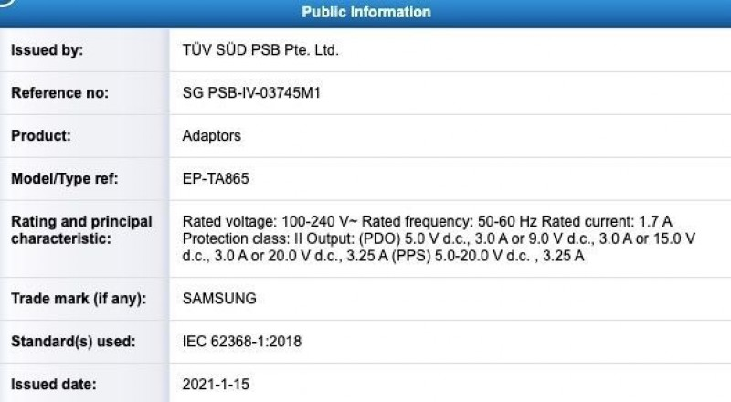 Samsung's 65W charger gets TÜV SÜD certification