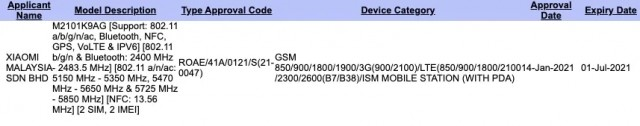 Xiaomi M2102K9AG on SIRIM