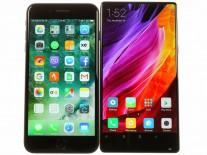 Xiaomi Mi Mix next to an iPhone 7 Plus