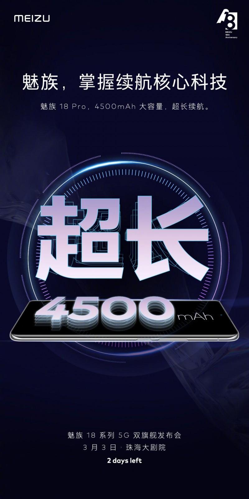 Meizu confirms 4,500mAh battery on the Meizu 18 Pro