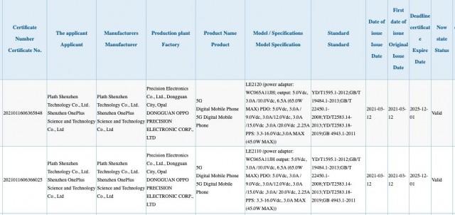 OnePlus 9 and 9 Pro listing on 3C database