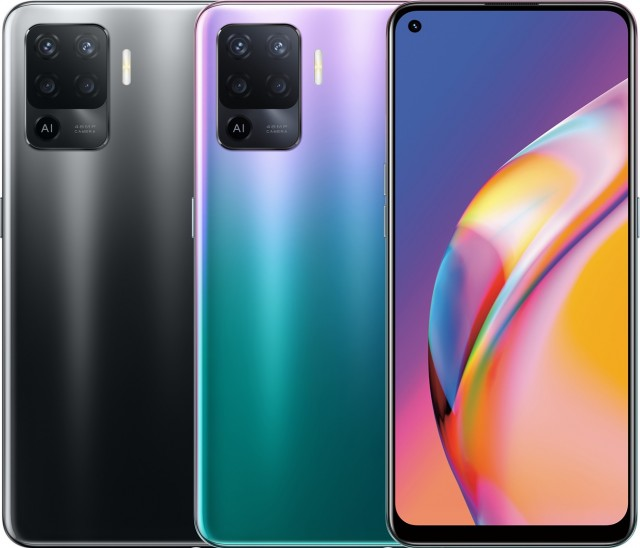 Oppo A94 in Fluid Black and Fantastic Purple