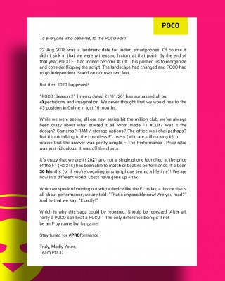 Poco's letter to its fans contains a stenographic clue to the Poco X3 Pro launch