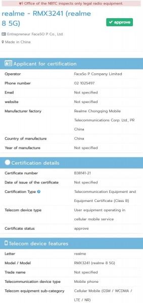 Realme 8 5G gets NBTC certified