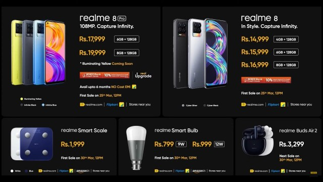 Indian prices for realme's Bud Air 2, smart scale and smart bulb