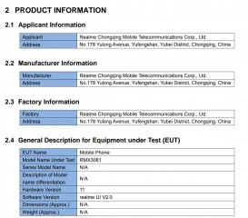 RMX3081 - potentially the Realme 8 Pro - details from FCC documents
