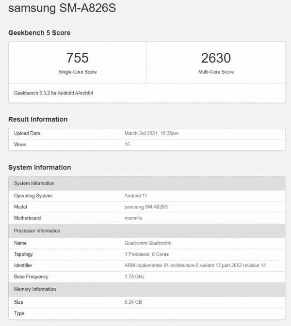 Samsung Galaxy A82 5G pops up on Geekbench with Snapdragon 855+