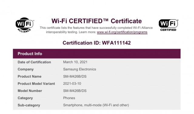 Samsung Galaxy M42 Wi-Fi certification