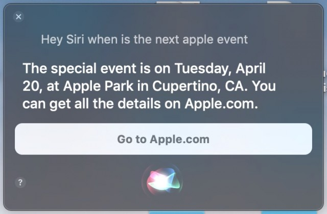 Detalhes de eventos da Apple da Siri