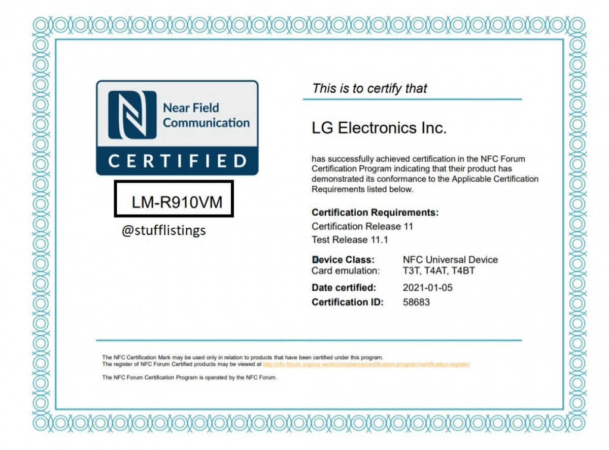 NFC certification for LG's Rollable phone surfaces online