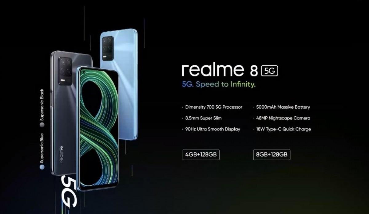 Realme 8 5G arrives with Dimensity 700 chip and 90Hz LCD - GSMArena.com news
