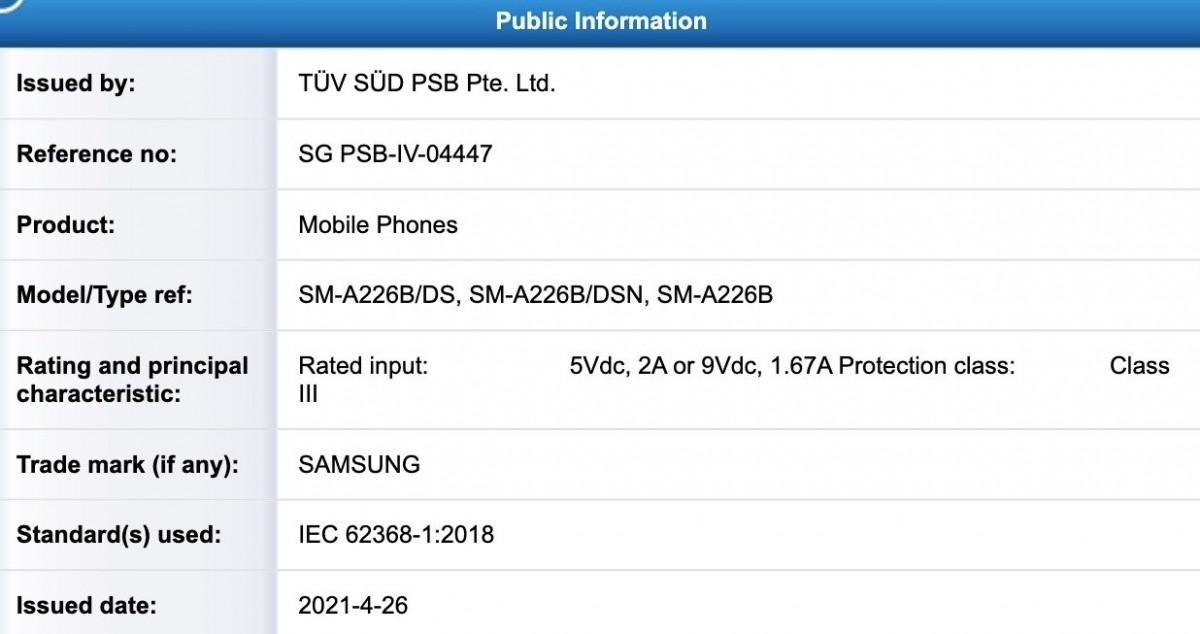 Samsung Galaxy A22 5G appears in TUV listing