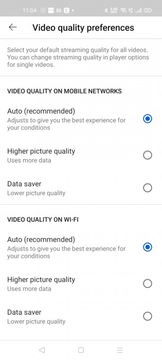 You can set video quality defaults separately for mobile networks and Wi-Fi