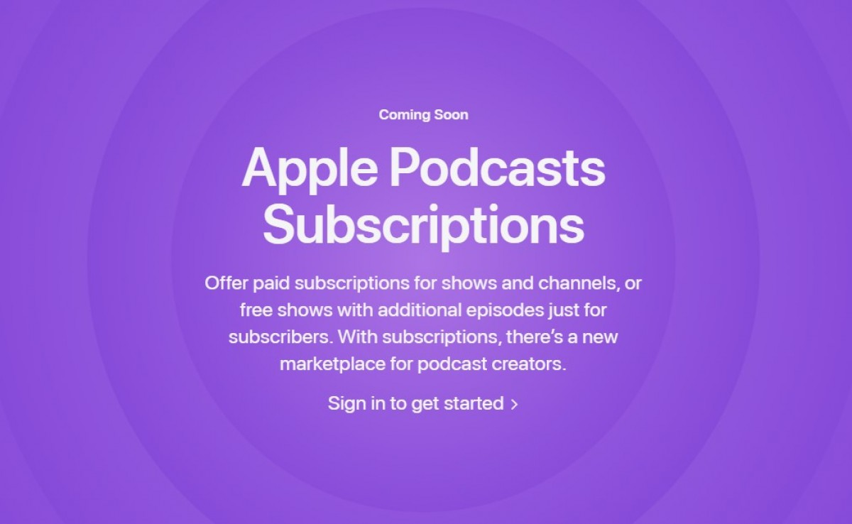 Apple Podcast Subscriptions sign up page (Source)
