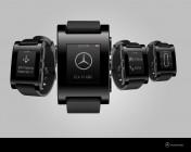 Conceito de relógio Pebble que permitiria que você checasse seu Mercedes