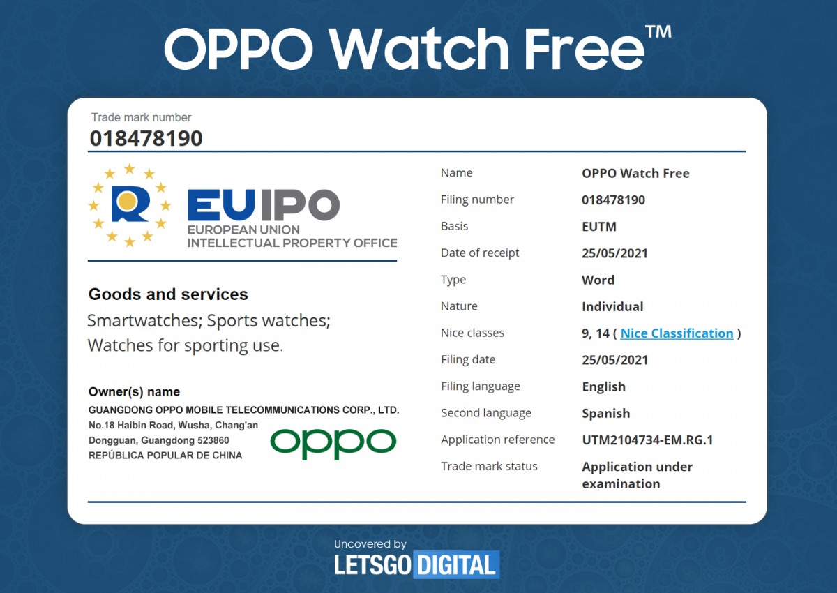 """Oppo trademarks a """"Oppo Watch Free"""", may be a sport watch"""
