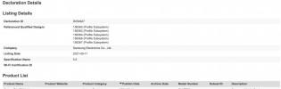 Samsung Galaxy Tab S7 XL Lite certifications