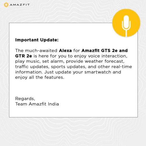 Amazfit GTR 2e and GTS 2e get Alexa support with new update