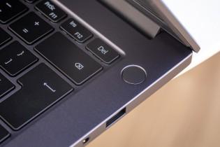 The power button doubles as a fingerprint reader