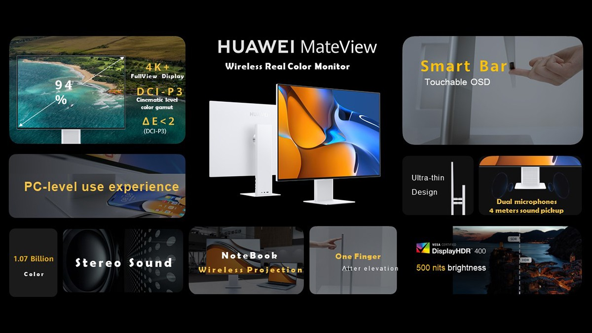 Huawei MateView GT 165Hz  ultrawide gaming monitor is going global, flat MateView in tow