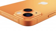 Apple iPhone 13 speculative render showing a new orange colorway