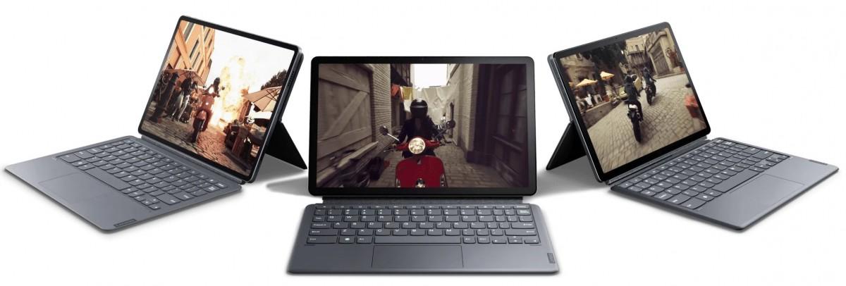 Tab P11 Pro (left), Tab P11 Plus (center), Lenovo Tab P11 (right)