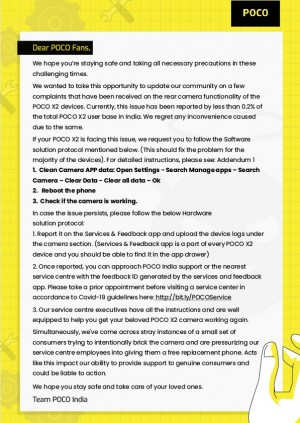 A letter to Poco fans with instructions on how to fix camera issues on the X2