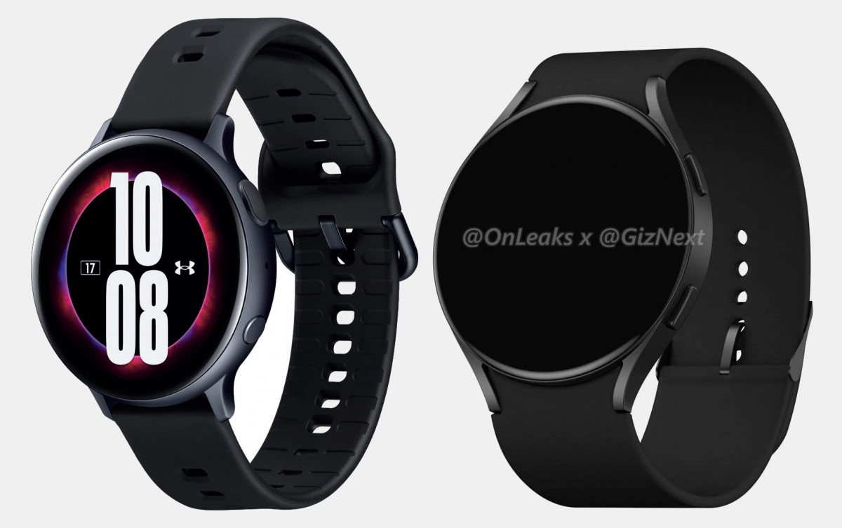 The current Galaxy Watch Active2 (left) and the Watch Active4 render (right)