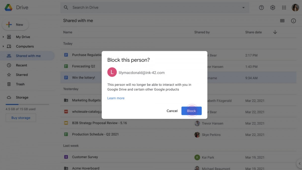 You can now block other users on Google Drive