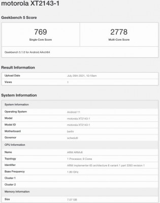 Moto Edge 20 on Geekbench